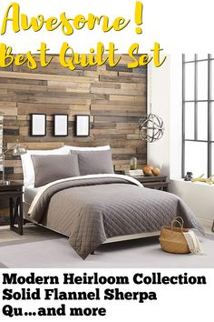 Modern Heirloom Collection Solid Flannel Sherpa Quilt Set, King, Charcoal (This is an affiliate pin) Quilt Sets, Flannel, Comforters, Charcoal, King, Quilts, Bed, Modern, Collection