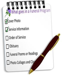 "If you are making a funeral or memorial program, check out this article on ""what to include in your program"" to help you plan you program or other memorial stationery."