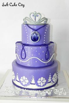 Sofia the First Cake - All marshmallow fondant with gumpaste tiara and brooch. So much fun to make this cake!