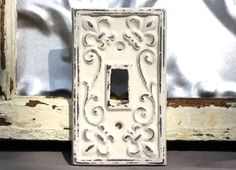 Switch Plate/Single Switch Plate/ Creamy Light Switch Plate Cover/ Shabby Chic Switch Cover/ Cast Iron Switch Cover by MichelleLisaTreasure on Etsy