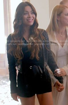 Nora's black lace romper and striped leather jacket on The Vampire Diaries.  Outfit Details: http://wornontv.net/54645/ #TheVampireDiaries