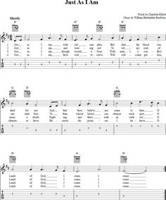 Free Guitar Sheet Music For Just As I Am With Chord Diagrams Lyrics And Tablature