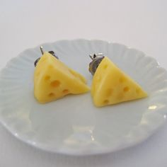 Cheese Wedge Post Earrings Miniature Food Jewelry by Artwonders, $7.00-I need these for next football season!! GO PACK GO!!
