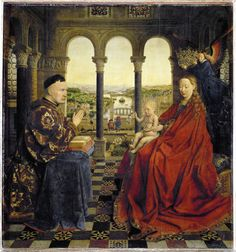 In 1435, Van Eyck paintedMadonna of the Chancellor Rolin, in which Rolin is facing Mary and is the same size as the virgin mother. Description from thedailyhatch.org. I searched for this on bing.com/images