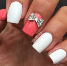 White and coral bow nails