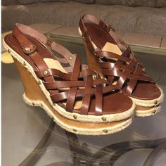 Michael Kors Belinda wedge Very little dirt/discoloration on the raffia. Worn once or twice. Michael Kors Shoes Wedges