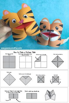 How to Make a Fortune Teller (Printable Diagram Included) + Cootie Catcher Design Ideas - Eas. - How to Make a Fortune Teller (Printable Diagram Included) + Cootie Catcher Design Ideas – Easy Pe - Origami Folding, Origami Art, Heart Origami, Origami Flowers, Paper Folding, Cute Kids Crafts, Easy Crafts, Origami Fortune Teller, Paper Fortune Teller