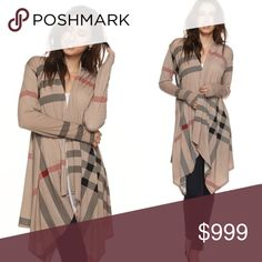 💥LAST 1!!! Size Small Mocha plaid draped cardigan Just in!!! Mocha plaid print draped cardigan. Oversized fit, great to wear year round! 92% Poly, 8% Spandex. Made in USA! S-L (I'm wearing the large). *****NOTE: Due to high demand I will not be accepting any offers. This is the final price, no exceptions, no offers, no trades, no comments on pricing etc.***** available in plus sizes in a separate listing!!! Sweaters Cardigans