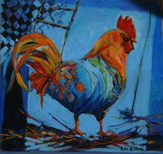 Cockerel 3 Roosters, Hens, Oil, Contemporary, Chicken, Animals, Inspiration, Biblical Inspiration, Animales