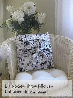DIY No-Sew Throw Pillows on Untrained Housewife.com = Use fabric scraps to transform your home decor!
