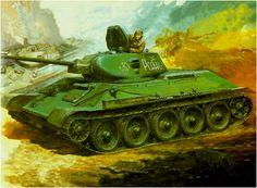 T-34/76 modelo B. Lleva en la torre el lema patriotico 'Za Rodinu' (por la Madre Patria). Este modelo de T-34 destaca el riesgo que presentaba el tener una única escotilla en el T-34. A diferencia de los comandantes de panzer a quienes les gustaba combatir con la cabeza fuera de la torreta para tener una visión de 360, al infeliz comandante de T-3, le toco la suerte de exponerse en demasía por un lado de la escotilla ó sentarse en el techo de la torreta. Más en www.elgrancapitan.org/foro/