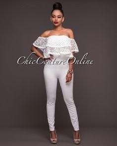 a57b74c3d157 Villa Off-White Double Crochet Ruffle Jumpsuit