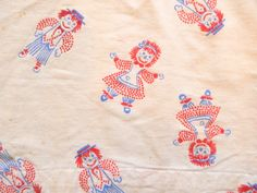 Vintage Raggedy Ann and Andy Fabric Curtains 42 by VintageZipper