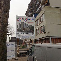 Ontwerp en opmaak van bouwbord African Inn in campagnestijl Nieuwzuid.nl. Opdrachtgever: Vestia