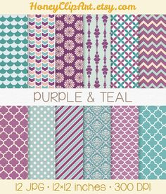 Purple and Teal Digital Paper, Blue Background, Polka Dot, Peach and Teal Damask Pattern, Blush and Plum Chevron, Purple Floral Clip Art