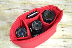 Water resistant Red supplex fabric Camera Bag DSLR, photograhers gear, foam padded camera insert, purse,  backpack / Darby Mack Designs