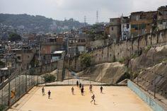 A community football pitch in the Sao Carlos favela, Rio de Janeiro, Brazil.