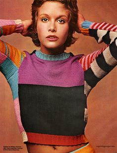 Model wearing Coty Cosmetics and cothes by Betsey Johnson 1971