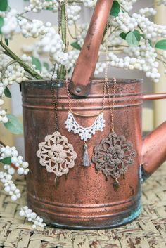 Crochet + Tassel Brass Necklace