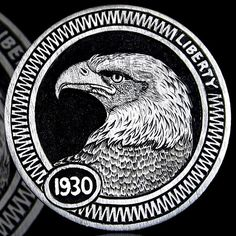 ANDY GONZALES HOBO NICKEL - EAGLE - 1930 BUFFALO NICKEL Old Coins, Rare Coins, Hobo Nickel, Coin Art, Awesome Stuff, Art Forms, Precious Metals, Sculpture Art, Skulls