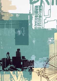 Skyline Screenprint by Helen Bridges Prints For Sale, Buy Prints, Rise Art, Abstract City, Architecture Collage, Collage Art, City Collage, Photomontage, Online Art