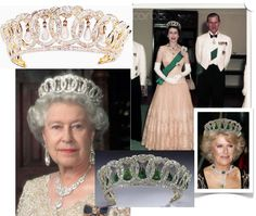 The Grand Duchess Vladimir Tiara. Part of the Romanov family jewels, it was spirited out of Russia after the Revolution and purchased by Queen Mary in 1921. It originally had pearls in the circles, which were removed and replaced with emeralds. A copy was made without the emeralds. Camilla has been seen wearing the emerald version of this crown.
