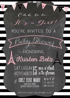 Paris Chalkboard Baby Shower Invitation by SavvyDeetsDesigns