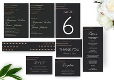 Dots-Foil-Black Wedding Invitation Set, Printable Invitation, Wedding Templates, Printed Invitations | DIGITAL PRINTABLE Menu Cards, Table Cards, Christmas Card Template, Black Wedding Invitations, Reception Card, Wedding Templates, Printable Invitations, Save The Date Cards, Wedding Sets