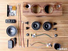 Minfort is raising funds for : The Multi-function Handmade Wooden Speaker on Kickstarter! Bringing audio engineering, craftsmanship, and technology together. Bluetooth Speaker Box, Sound Speaker, Wooden Speakers, Home Speakers, Stereo Speakers, Radio Design, Speaker Box Design, Diy Electronics, Electronics Projects