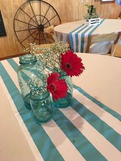 Teal blue and red wedding decor for a rustic barn wedding at Hightower Falls