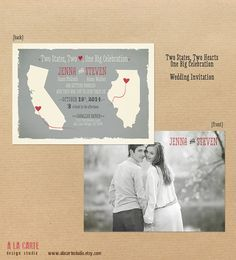 Two States Two Hearts One Big Celebration  by alacartestudio, $30.00 - Would use as Save the Date