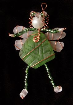 Green Sea Glass Fairy Suncatcher Ornament or Large by oceansbounty, $25.00