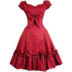 Partiss Womens Wine Red Cotton Short Sleeves Ruffles Bow Sweet Lolita... ($97) ❤ liked on Polyvore featuring dresses, frilly dresses, red cotton dress, short sleeve dress, red short sleeve dress and flounce dress