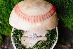 #Engagement Ring in Baseball. Weddings and Sports. Photographer: Meredith Sledge Photography