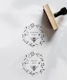 Custom Word Stamp Name Stamp Thank You Stamp Custom Logo Honey Packaging, Packaging Ideas, Logo Fleur, Honey Logo, Honey Label, Stationery Craft, Cute Notes, Flower Stamp, Custom Stamps