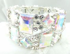 Stretch Bracelet Silver With Glass AB Crystal Fashion Jewelry Square Stones NEW #ChristinaCollection #Stretch