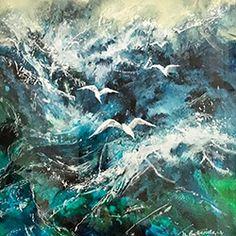 Watercolour, Watercolor Paintings, Sea Pictures, Fairytale Art, Bird Art, Landscape Art, Mixed Media Art, Boats, Art Drawings