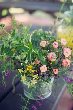 centerpiece in galvanized bucket.  Don't forget the pretty weeds vying for space in your garden when selecting buds!