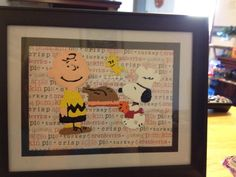 Snoopy, Charlie Brown, and Woodstock Thanksgiving decoration. Paint glass of a picture frame and add decorative paper behind it.