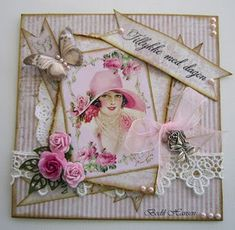 Lady Rose, so so pretty Cool Birthday Cards, Birthday Cards For Women, Art Deco Cards, Shabby Chic Cards, Pretty Cards, Flower Cards, Creative Cards, Vintage Cards, Diy Cards