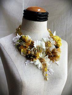 SHASTA Yellow White Daisy Textile Mixed Media by carlafoxdesign
