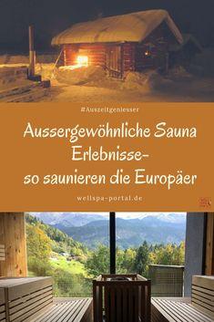 Aussergewöhnliche Erlebnisse in der Sauna. Die Frage ist, wie saunieren die Europäer? Ist Sauna gleich Sauna? Oder verändern sich Rituale je nach Land? Steckt in der Sauna Wellness und Spa? Wo gehst du am liebsten in die Sauna? Im Wellnesshotel, Therme oder in der privaten Sauna? Weitere Tipps und Idee für deine Auszeit im Online Magazin WellSpaPortal #Sauna #ungewöhnlich #Wellness #schwitzen #Europa Private Sauna, Sauna Wellness, Hotels, Reisen In Europa, Portal, Spa, Happiness, Travel, Time Out