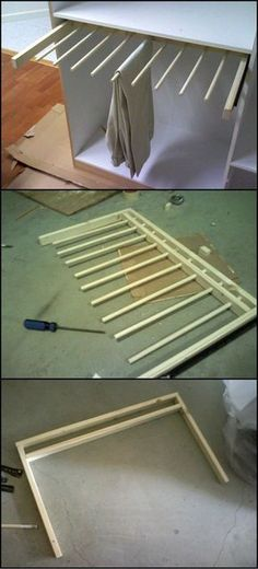 How To Build A Sliding Pants Rack http://theownerbuildernetwork.co/hd1a This is a great project for improving your wardrobe! By building one, you can have an organized place for your pants without having to buy a whole new cabinet. We think this design is great? How about you?