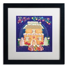 """Trademark Art 'Xmas Gingerbread House' Framed Graphic Art Print Mat Color: White, Size: 16"""" H x 16"""" W x 0.5"""" D"""