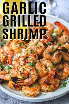 Garlic Grilled Shrimp is a perfect summer staple on the grill! Just a simple soak in this tangy marinade for a delicious shrimp kabob or tucked into a zesty shrimp taco! This will become one of your 'go-to recipes' that make summertime livin' so easy! Grilled Shrimp Seasoning, Easy Grilled Shrimp Recipes, Marinated Grilled Shrimp, Mexican Shrimp Recipes, Steak And Shrimp, Seafood Recipes, Cooking Recipes, Marinade For Shrimp Kabobs, Shrimp On The Bbq