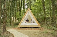 Prefab A-frame wooden cabins are made for eco-friendly glamping : TreeHugger: