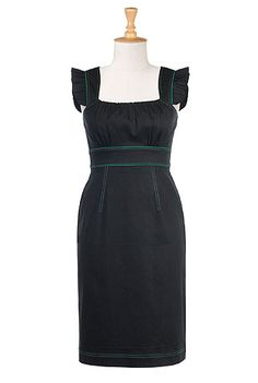 Sinnett sheath  I love the green piping on this dress, it would look flawless with a pair of matching green pumps, wedges or sandals.