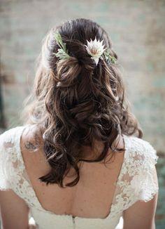 we ❤ this! moncheribridals.com #halfuphalfdownhair #longweddinghair #weddinghair