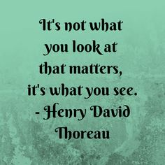 This quote by Henry David Thoreau touches upon de value of imagination that transcendentalists have. Thoreau is saying that you might look at something, but what is most important is how you see it. That something is not the same for everyone. Everyone looks at things differently, and it is each individuals imagination that allows them to do so.