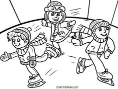 Here are a bunch of free printable winter coloring pages for kids to color! You will find snowmen, sledding, ice skating, dogs, and more! Snowman Coloring Pages, Coloring Pages Winter, Coloring Pages For Kids, Ice Skating Party, Skate Party, Skating Rink, Vive Le Sport, Fun Crafts, Crafts For Kids